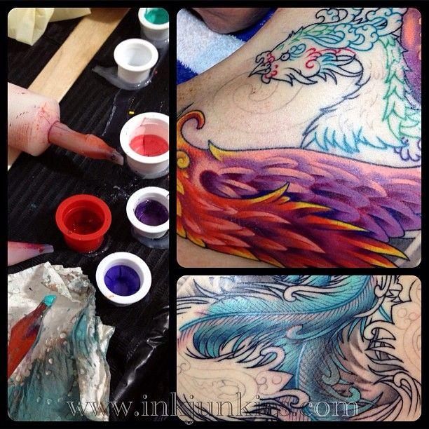 In Progress... (2013) (Done @ King's Head Tattoo Parlour,Berlin,Germany)  #tattoo #tattoos #tattooed #tattooing #tattooer #tattooist #tattoostudio #tattooartist #tattooart #art #artwork #tatouage #bodyart #bodymodification #phoenix #backpiece #colortattoo #psychedelic #oriental #ink #inked #inkedup #inking #inkedgirls #tattooedgirls #girlswithtattoos #tattooedwoman #sketch #design #2013 #luxembourg #luxembourgcity #europe #kiel #berlin #germany #coverup #flowers #spiral #clouds