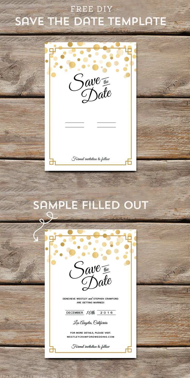 Download and customize this FREE Modern Gold DIY save the date template and then print as many copies as you need! ahandcraftedwedding.com