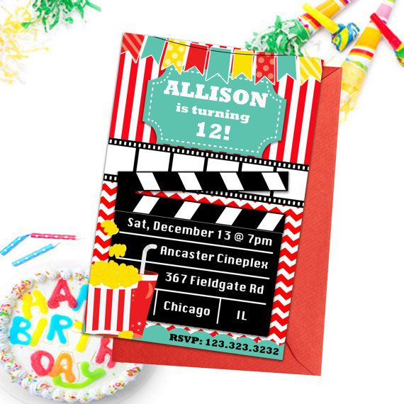 Movie Party Invitations Kids Party Invitations by PrintYourInvite #movieinvitations #partyinvitations #birthdayparty #kidspartyinvites #birthdayinvitations #kidsmovieinvites #partyinvites #kidspartyprintables