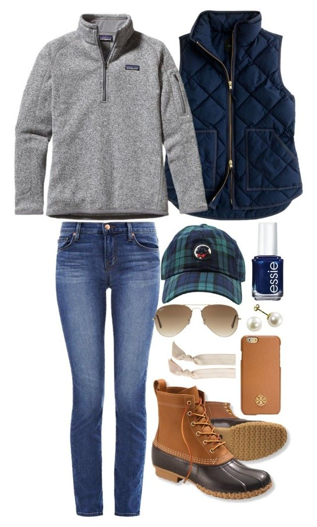 """Football game!"" by hbcernuto ❤ liked on Polyvore featuring J Brand, L.L.Bean, J.Crew, Patagonia, Essie, Ray-Ban, Emi-Jay and Tory Burch:"