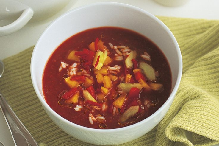This traditional cold tomato-based soup is made into a hearty dish with the addition of rice.