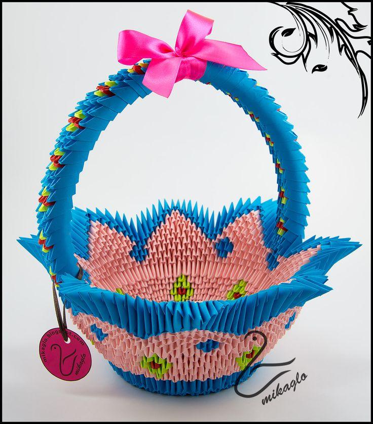 Blue-pink origami 3d basket tutorial -> mikaglo.blogspot.com