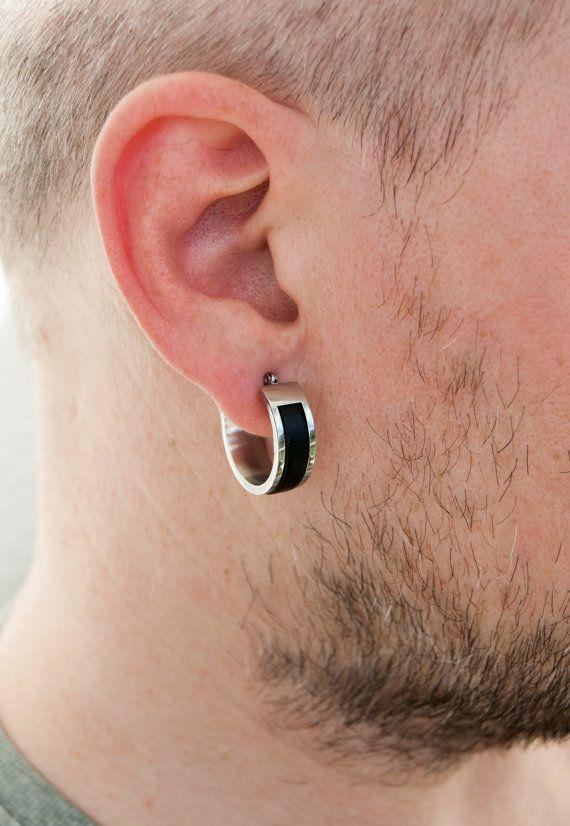 Mens Earrings Hoop Large Huggie For Men Leather