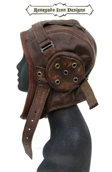 aviator hat flight cap tank girl leather by Renegadeicon on Etsy