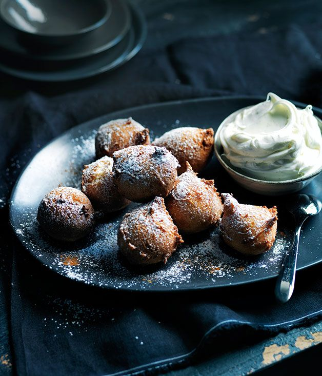 Sour cherry fritters with boozy mascarpone recipe | Gourmet Traveller recipe - Gourmet Traveller