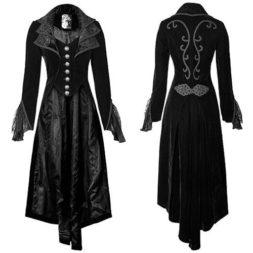 Black Embroidered Victorian Gothic Vampire Dress Trench Coat Women SKU-11401007