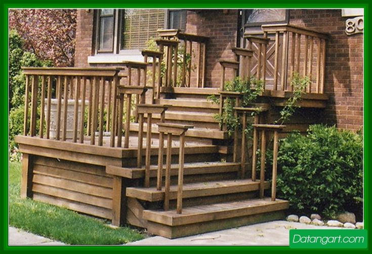 Front porch steps wood design idea home landscaping for Front step designs wood