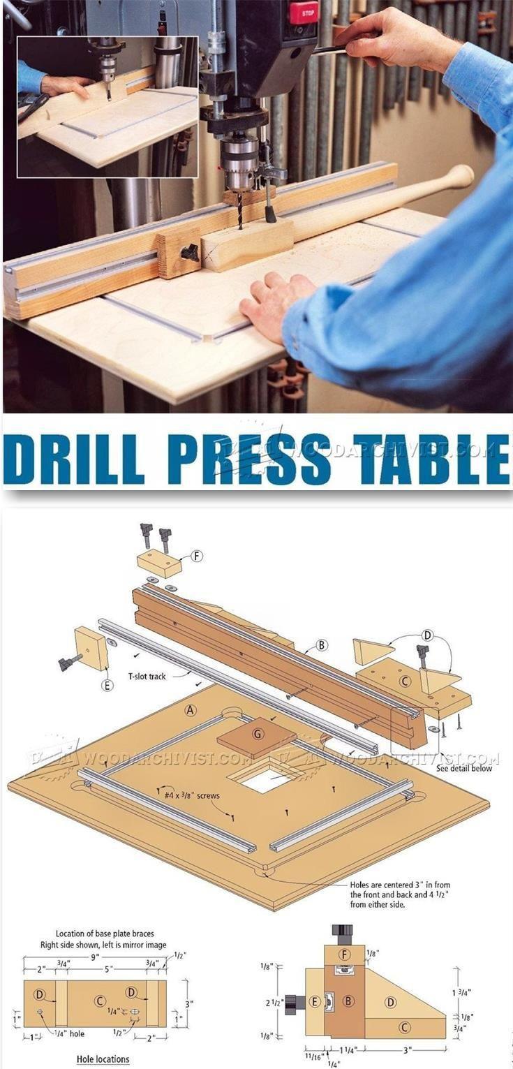 DIY Drill Press Table - Drill Press Tips, Jigs and Fixtures | WoodArchivist.com