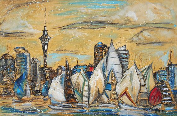 Auckland Painting - city art, sailboat painting, large painting, skyline, cityscape, New Zealand, Large original oil painting, seascape