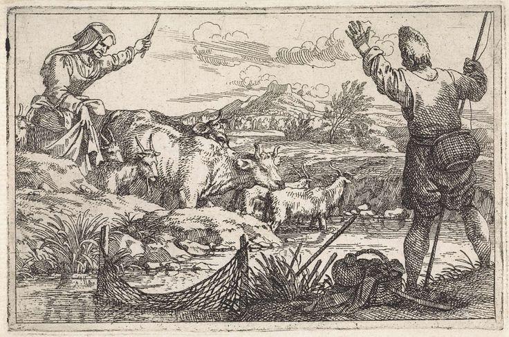 Jan Baptist de Wael | Visser bij rivier, Jan Baptist de Wael, 1642 - 1669 | Een visser staat op de oever van de rivier. In het water een net voor het vangen van vissen. Hij zwaait naar een vrouw die haar kudde voortdrijft door de rivier.