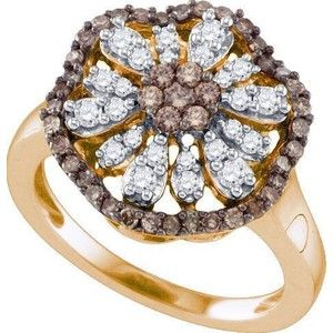 0.73ctw Brown Diamond Flower Ring 10K Rose Gold
