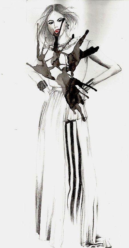 Fashion drawing; monochrome fashion sketch, pencil & watercolour // Bréscia Bercane