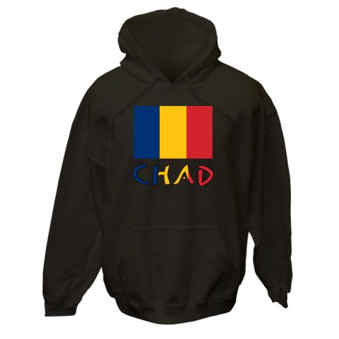 The blue, yellow and red Chadian flag with the word CHAD underneath in the colours (or colors) of the flag. Shows here on tshirts, gifts and merchandise.<br /><br />  Lovely gift ideas for travelers or those of Chadian ancestry. Share your trip or vacation, or show pride in your ancestry, heritage and culture. $75.99 ink.flagnation.com