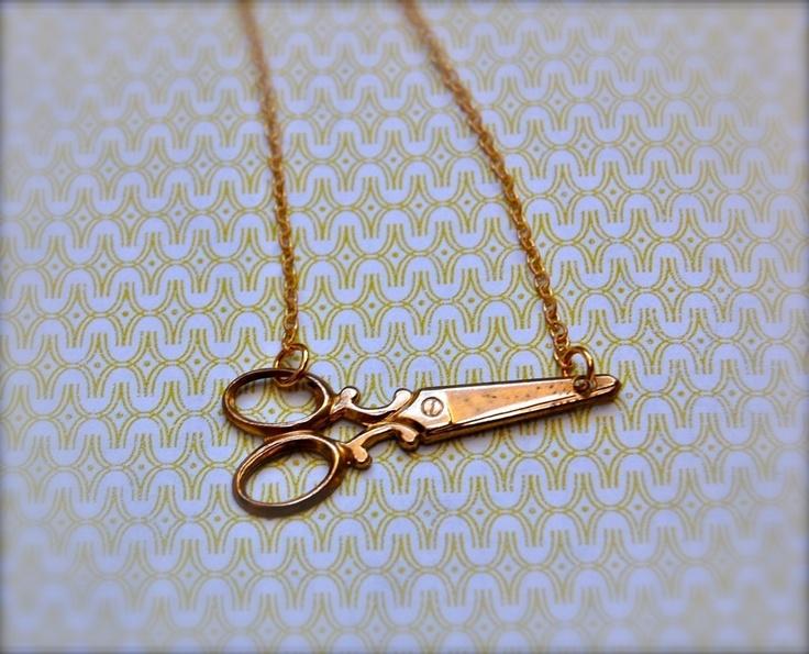 The Tiny Brass Scissors Necklace. via Etsy.