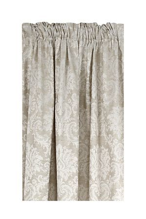 """This is a damask block out curtain with a jacquard scroll detail that appeals to a classic feminine taste and is suitable for all rooms. the block out lining is an effective way to minimise uv light from entering the room. Measures 20x218cm.<div class=""""pdpDescContent""""><BR /><BR /><b class=""""pdpDesc"""">Fabric Content:</b><BR />90% Polyester 10% Linen<BR /><BR /><b class=""""pdpDesc"""">Wash Care:</b><BR>Gentle cycle cold wash</div>"""