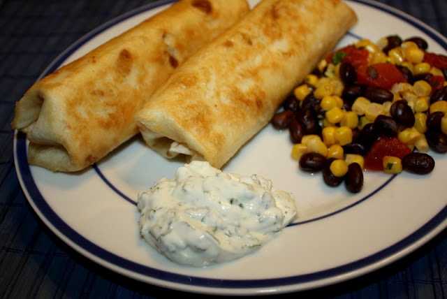 Chicken Flautas with lime and cilantro sour cream, mmm mmm