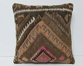 "embroidered pillow 18"" sofa throw pillow living room decoration kilim fabric easter pillow floor pillow case country pillow ethnic rug 25962"