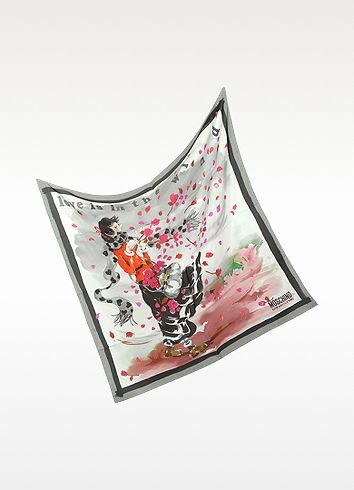Moschino Love is in the Wind Silk Square Scarf | FORZIERI
