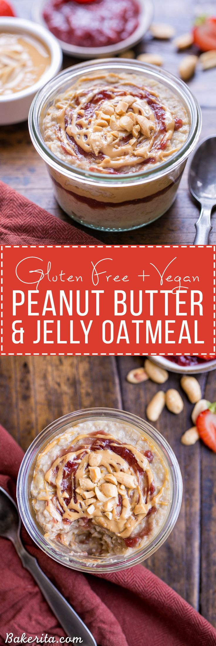 Start your morning with Peanut Butter & Jelly Oatmeal for a healthy & delicious breakfast treat! This gluten-free and vegan oatmeal is sweetened with a ripe banana.