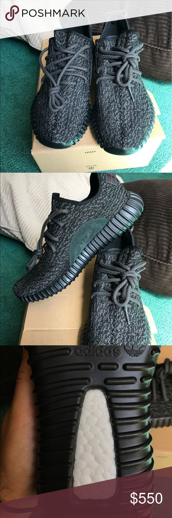 "YEEZY BOOST 350 ""PIRATE BLACK"" SIZE 10 1/2 YEEZY BOOST 350 ""PIRATE BLACK"". Im a shoe collecter and Been holding on to them for a while now. Never wore them before. I see a lot of fake yeezys on here so if you are skeptical message me and ill tell you how you can tell between real and fakes adidas Shoes Sneakers"