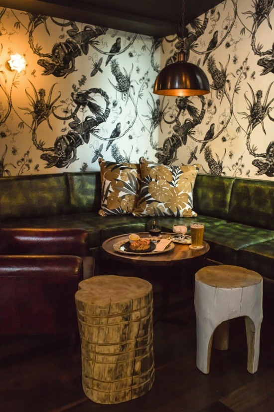 Wallpaper and raw wood | New bar, At Sixes and Sevens on James Street, Brisbane