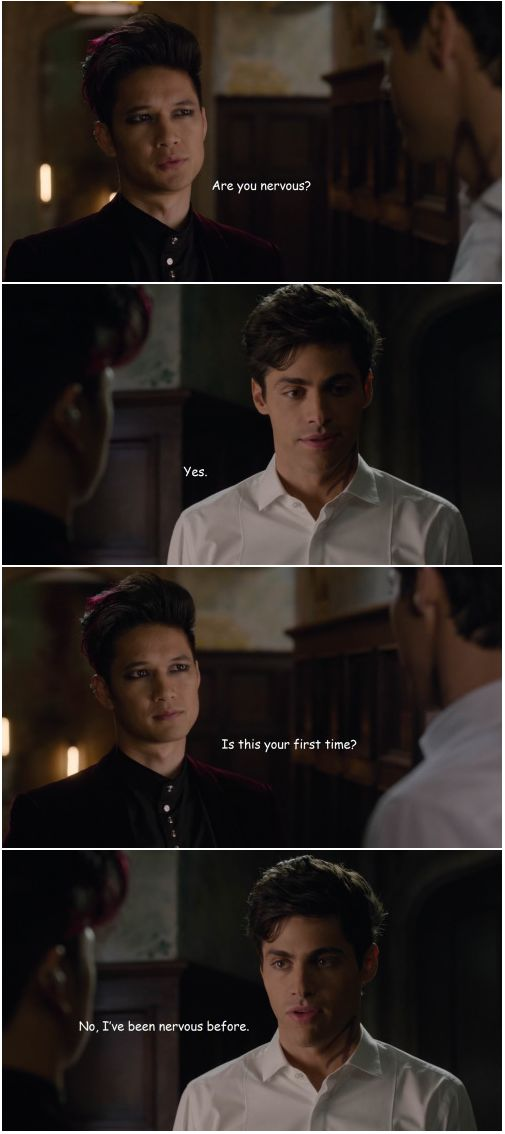 Nervous before ... (pics taken from the serie Shadowhunters) ... shadowhunters, alexander 'alec' lightwood, magnus bane, the mortal instruments, harry shum jr, matthew daddario