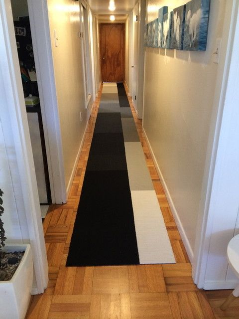 A long hallway problem solved with a greyscale runner using Flor design squares!