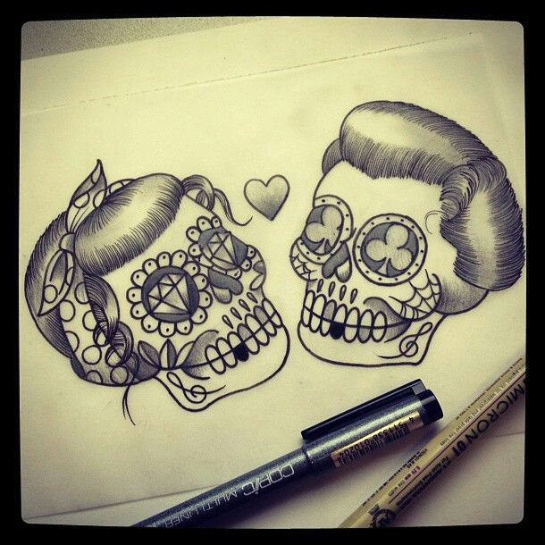 Couple skulls: Candies Skull, Tattoo Skull Mustaches, Candy Skulls, Skull Chest Tattoo, Candy Skull Tattoos, Matching Tattoo, Skull Tattoo Design, Girls Skull, Rockabilly Sugar Skull Tattoo