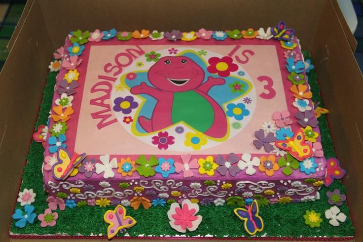Girly barney edible print cake juvante cake creations