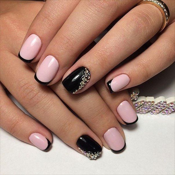 Black and pink nails, Black french manicure, Black nails ideas, Evening dress nails, Evening nails, Nails with stones, ring finger nails, Shiny french nails