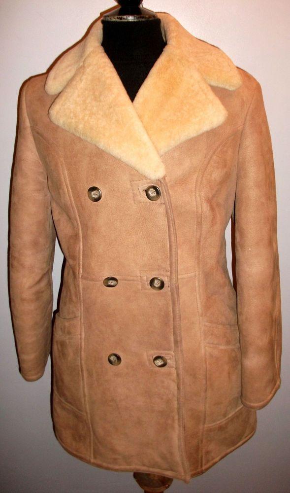 7f86c0636f40e SHEARLING SHEEPSKIN Coat Overcoat 18 Brown LEATHER FUR Military Pea DB  Jacket  fashion  clothing  shoes  accessories  womensclothing   coatsjacketsvests ...