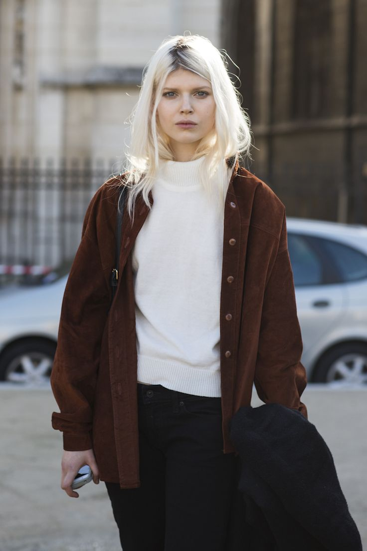switch colors: black turtleneck (because of hair color) with brown suede