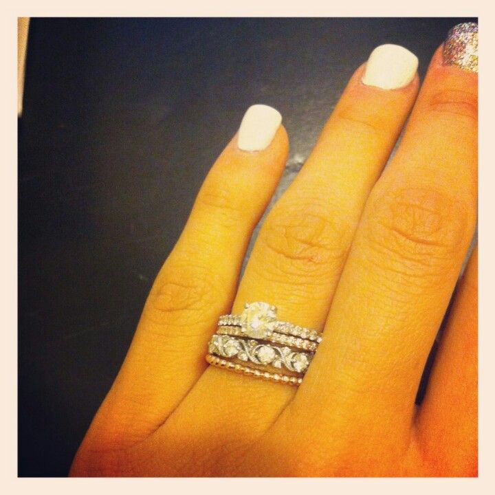 Engagement Five Band Wedding Rings Stacked Rings Wedding Thin Rings