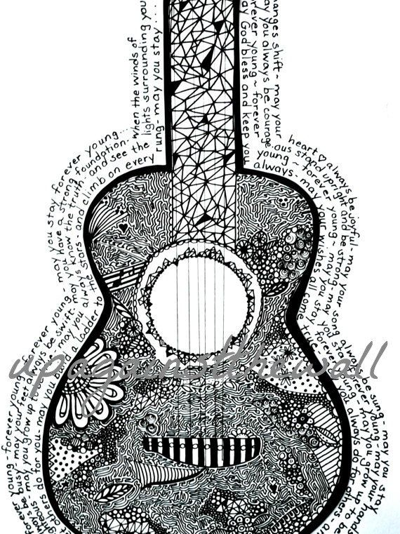 Forever Young. Doodled guitar with Bob Dylan's Forever Young lyrics.