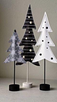 Sapins noir et blanc en papier pour la décoration de #Noel