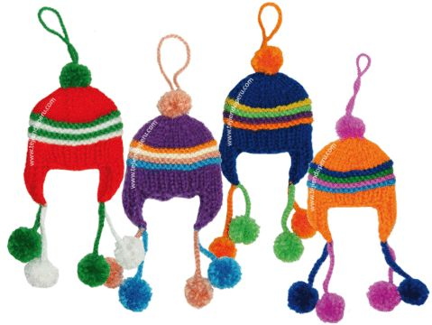 Tutorial: gorros peruanos (chullos) tejidos en dos agujas o palitos para colgar en el árbol navideño!
