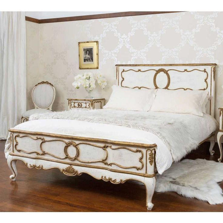 Palais French Bed - Gold and Ivory French Bed - French bedrooms