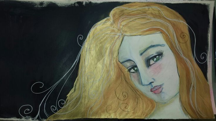 Watercolor and gold paint markers, pastel pencils and Jane Davenport inspiration.