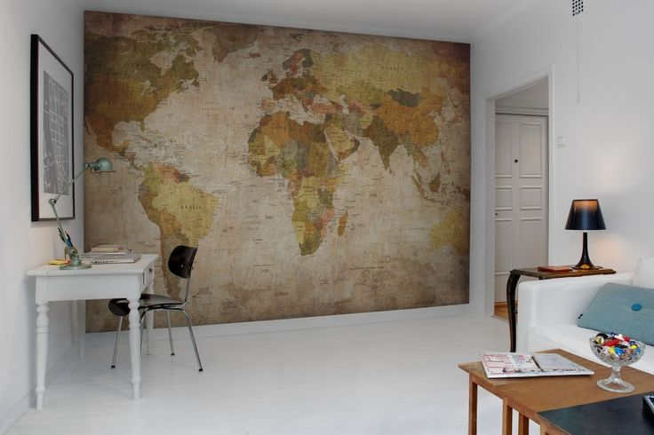World Map wall murals - wallpaper | Rebel Walls  This would look amazing in your dining room- Mural wallpaper