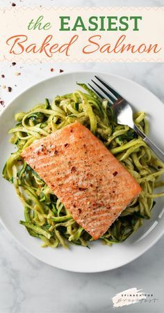 The Easiest Baked Salmon -- this recipe is seriously the easiest and most foolproof way to bake salmon in the oven! With no foil needed, it couldn't be more simple or easy to get the perfect crisp while keeping the inside flaky. Plus, this recipe is gluten free and dairy free. Enjoy! :)