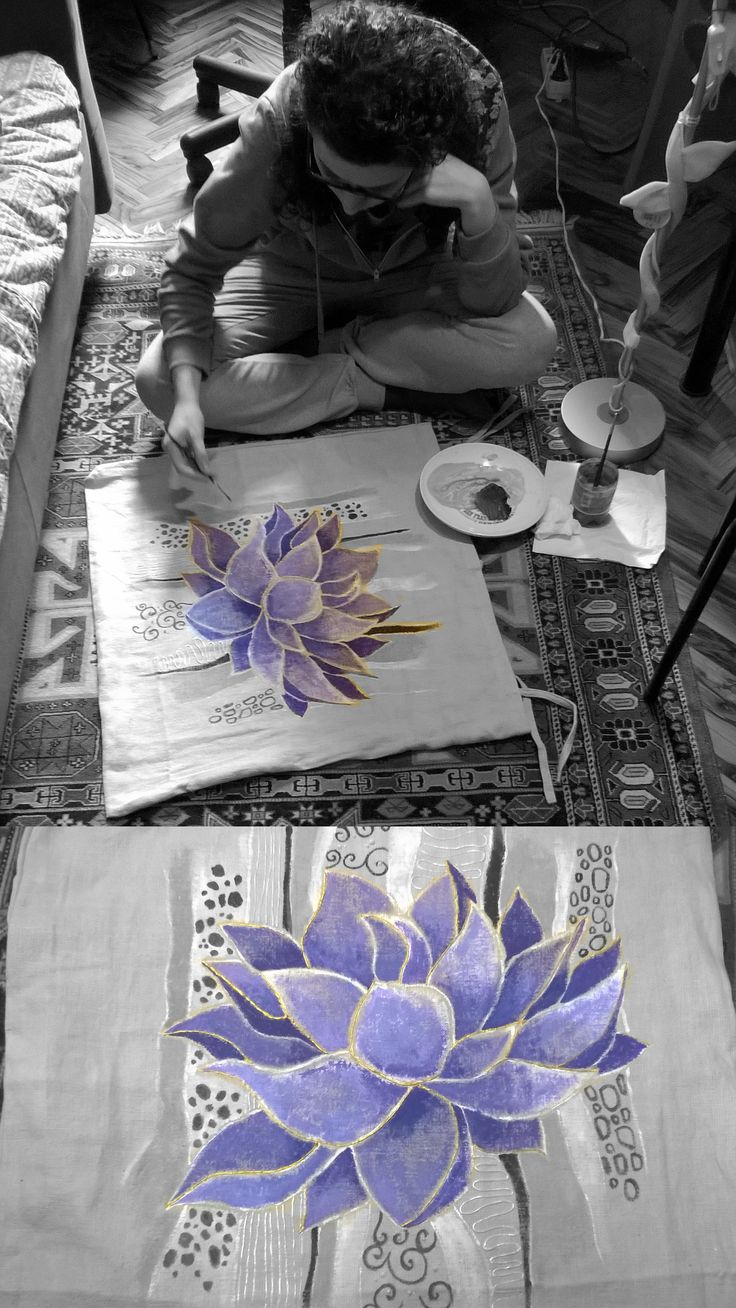 While I paint a pillow ... purple lotus blossom