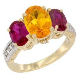 14K Yellow Gold Natural Citrine Ring Ladies 3-Stone Oval 8x6mm with Ruby Sides Diamond Accent, sizes 5 - 10. This Ring is made of solid 14K Gold set with Natural Gemstones and accented with Genuine Brilliant Cut Diamonds.