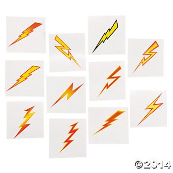 Lightning Bolt Tattoos - 72 Pk Party Supplies Canada - Open A Party More