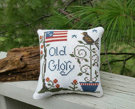 Completed Cross Stitch Pillow OLD GLORY Flag & by Stitchcrafts