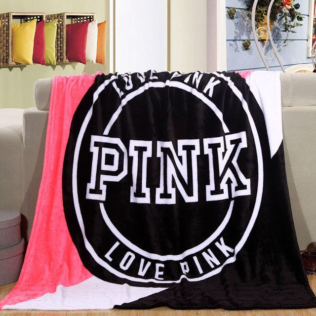 Europe Victoria's Secret Pink blanket Fleece Bed Throws Blanket on the bed/Sofa/Car/travel Portable Bedspread couverture polaire