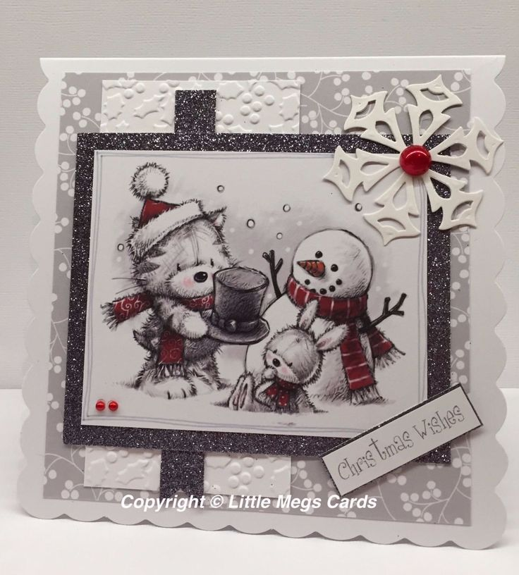 A gorgeous 6 x 6 scallop edge card with patterned paper background, holly embossed and glitter panels and die cut snowflake embellishment. The card has been left blank for your own greeting.