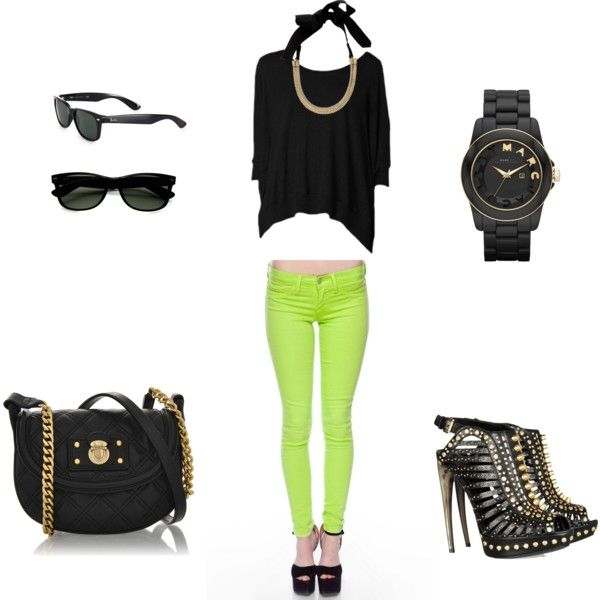 Neon skinnies paired with a black top and black and gold accessories.: Fashion, Dreams Closet, Black Cut, Neon Green, City Lights, Black Tops, Gold Accessories, Neon Skinny, Casual Semi Casual