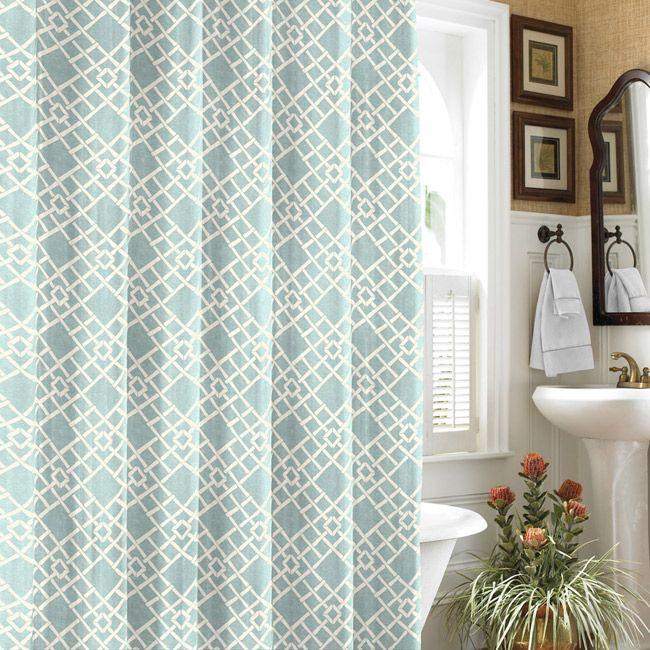 Tommy Bahama Bamboo Trellis Blue Shower Curtain
