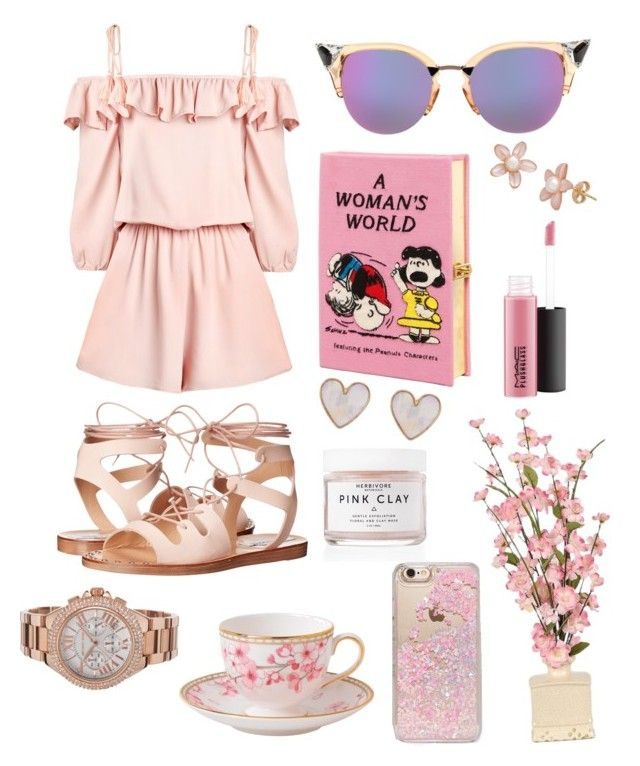 """PINK"" by canara-imin on Polyvore featuring Fendi, Steve Madden, Olympia Le-Tan, New Look, MAC Cosmetics, Herbivore, Skinnydip, Wedgwood and Michael Kors"