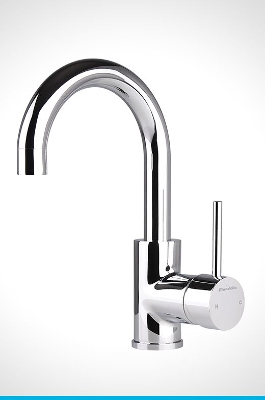 Resonance chrome side lever curved basin mixer